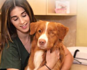 Veterinary staff member hugging a dog