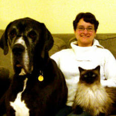 Dr. Sonia Morin with a dog and cat