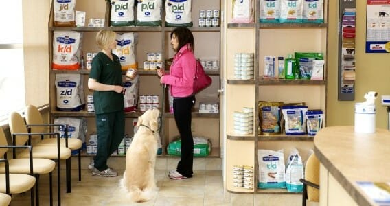 A veterinary staff member and dog owner with her dog talking by product shelves